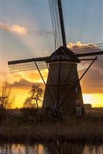 Preview iPhone wallpaper Windmill, river, grass, sunset
