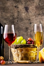 Preview iPhone wallpaper Wine, glass bottles, grapes, barrel