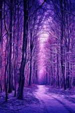 Inverno, floresta, neve, estilo roxo, arte