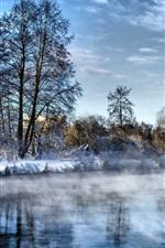 iPhone fondos de pantalla Invierno, río, árboles, nieve, frío