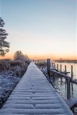 Winter, snow, bridge, river, trees, dusk