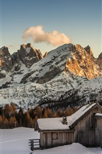 Preview iPhone wallpaper Winter, snow, mountains, wood hut