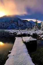 Preview iPhone wallpaper Winter, snow, river, fog, sunrise