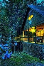Preview iPhone wallpaper Wooden house, lights, river, trees, dusk