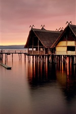 Preview iPhone wallpaper Wooden house, pier, sea, dusk