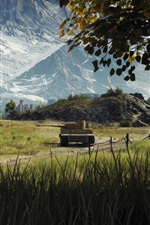 Preview iPhone wallpaper World of Tanks, grass, mountains, trees