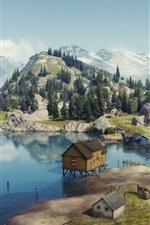 World of Tanks, costa serena, casas, montanhas, árvores