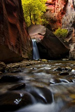 Preview iPhone wallpaper Zion National Park, canyon, stream, rocks, trees, Utah, USA