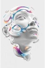 Renderização 3D, rosto, cabeça, abstrato