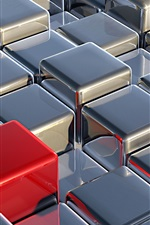 Preview iPhone wallpaper 3D silver cubes, one red