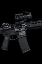 Preview iPhone wallpaper AR-15 semi-automatic rifle, weapons, black background