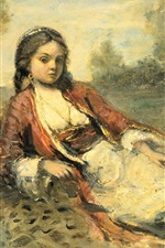 Preview iPhone wallpaper Algerian Girl, oil painting