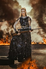 Preview iPhone wallpaper Apocalypse, black skirt girl, rifle, fire