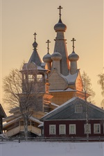 Preview iPhone wallpaper Arkhangelsk oblast, Russia, church, village, Kimzha, snow, winter
