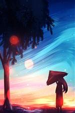 Preview iPhone wallpaper Art painting, girl, tree, umbrella, sky
