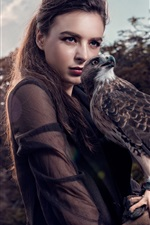 Preview iPhone wallpaper Asian girl and eagle
