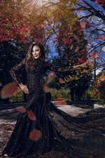 Preview iPhone wallpaper Asian girl, black lace skirt, park, trees, sunshine