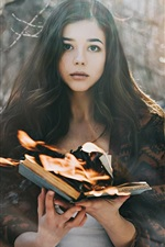 Preview iPhone wallpaper Asian girl, book, flame, fire