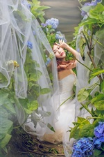 Preview iPhone wallpaper Asian girl, bride, blue hydrangea