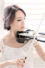 Asian girl play violin, window side, white skirt