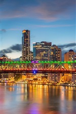 Preview iPhone wallpaper Australia, QLD, Brisbane River, skyscrapers, Story Bridge, lights