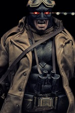 Preview iPhone wallpaper Batman, fiction, glasses, coat, darkness background