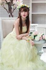 Beautiful Asian girl, chairs, flowers