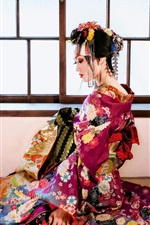 Preview iPhone wallpaper Beautiful Japanese girl, back view, kimono, window, room