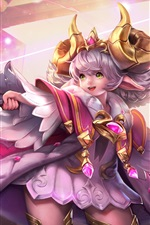 Preview iPhone wallpaper Beautiful anime girl, green eyes, magic