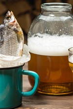 Beer, fish, cup