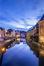 Preview iPhone wallpaper Belgium, Ghent, river, evening, dusk
