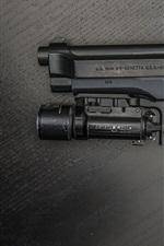 Preview iPhone wallpaper Beretta gun, flashlight, weapon