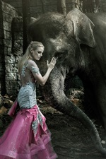Preview iPhone wallpaper Blonde girl and elephant