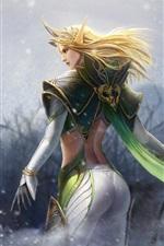 Blonde girl, fantasy, elf, back view