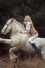 Preview iPhone wallpaper Blonde girl riding white horse