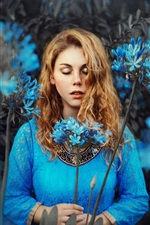 Preview iPhone wallpaper Blue dress girl, blonde, blue flowers, closed eyes
