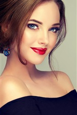Preview iPhone wallpaper Blue eyes fashion girl, hairstyle, makeup