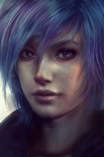 Blue hair fantasy girl, face, night, backlight