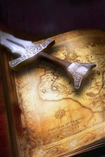 Preview iPhone wallpaper Book, sword, skull, key