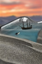 Preview iPhone wallpaper Bottle, shark, ship, beach, creative picture