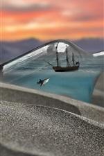 iPhone壁紙のプレビュー ボトル、サメ、船、ビーチ、クリエイティブイメージ