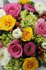 Preview iPhone wallpaper Bouquet, colorful flowers, asters, roses, hydrangeas, buttercups