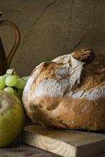 Bread, grapes, apple, still life
