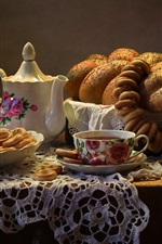 Preview iPhone wallpaper Bread, tea, table