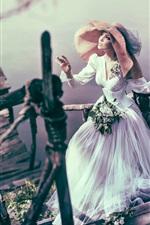 Bride, girl, hat, ladder, lake