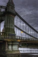 Preview iPhone wallpaper Bridge, river, clouds, dusk