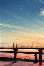 Preview iPhone wallpaper Bridge, river, sunset, art painting
