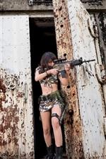 Preview iPhone wallpaper Call of Duty: Ghosts, girl, weapon, door