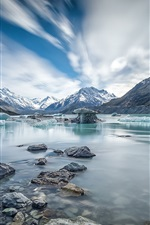 Preview iPhone wallpaper Canterbury, New Zealand, Mount Cook, river, ice, winter
