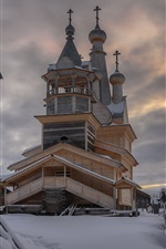 iPhone fondos de pantalla Castillo, nieve, invierno, nubes, atardecer, Rusia, Óblast de Arjángelsk